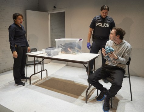 Photo of Sabryn Rock, Meegwun Fairbrother and Jakob Ehman in CAUGHT by Michael Cooper
