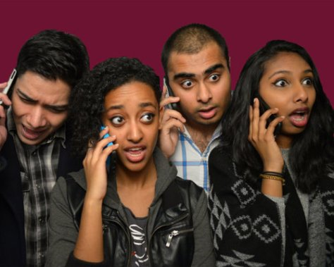 Photo of the cast of SExT, all on cell phones
