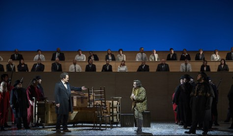 0241 – (l-r, foreground) Russell Braun as Louis Riel, Michael Colvin as Thomas Scott and Charles Sy as Ambroise Lépine in a scene from the Canadian Opera Company's new production of Louis Riel, 2017. Conductor Johannes Debus, director Peter Hinton, set designer Michael Gianfrancesco, costume designer Gillian Gallow, lighting designer Bonnie Beecher, and choreographer Santee Smith. Photo: Michael Cooper