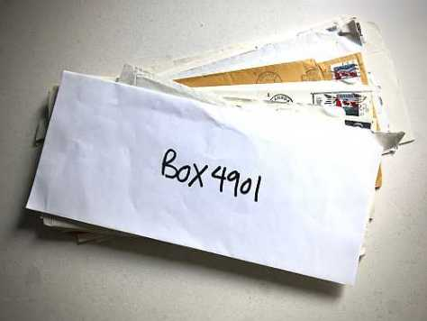 Photo of mail from Box 4091 at SummerWorks 2018