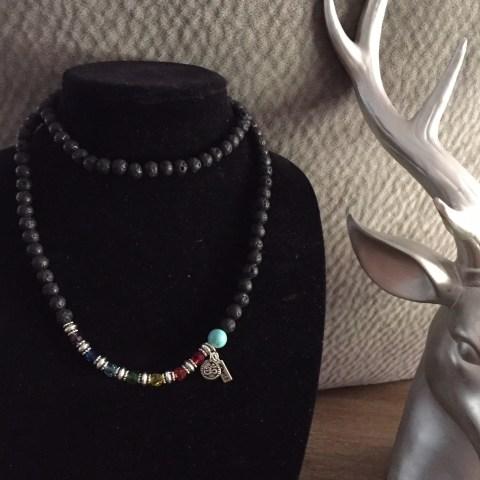 "Moonflower Blooms ""Lava Mala"" Design Necklace"