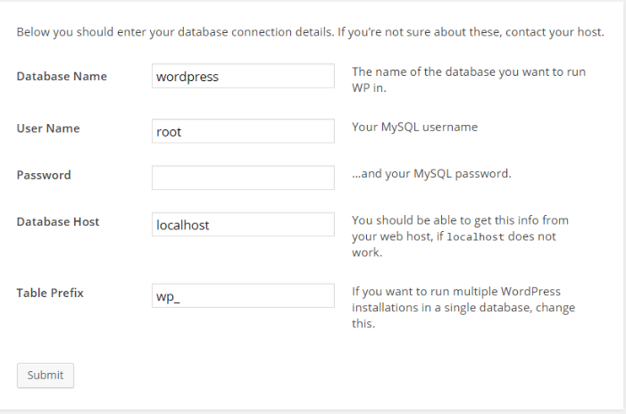 wordpress configure