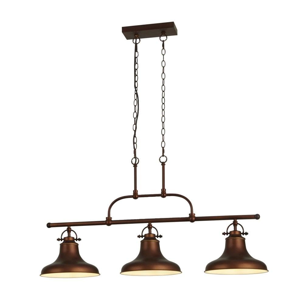 searchlight lighting dallas 3 light industrial bar pendant antique brown
