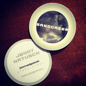 Sandgazer round business cards