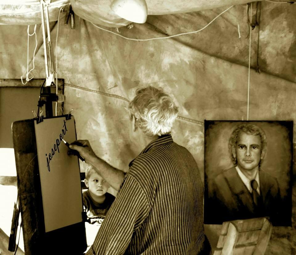 Don Fulgencio, el pintor. Foto: José Portela Campos Poema: Txema Anguera