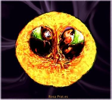 Luna de cosecha de Rosa Prat.Lúcuma  Dibujo digital  por Rosa Prat.