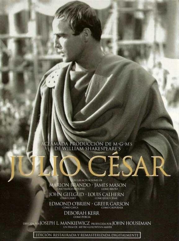 Cartel de la película Julio César. Marlon Brando como Marco Antonio.