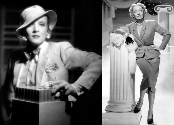 Actrices de la UFA de los años 40 como Marlene Dietrich (en la imagen, vestida de Christian Dior) o Hildegard Knef inspiraron el personaje de Bridget von Hammersmark.