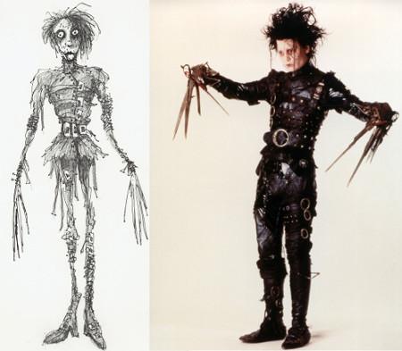 Boceto de Tim Burton e imagen del traje de Eduardo Manostijeras, elaborado por Colleen Atwood.