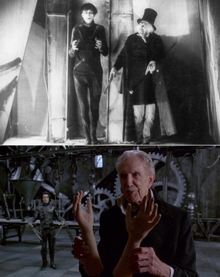"""En la primera imagen,secuencia de """"El gabinete del doctor Caligari"""" (1920). Su personaje Cesare fue inspirador para Burton."""