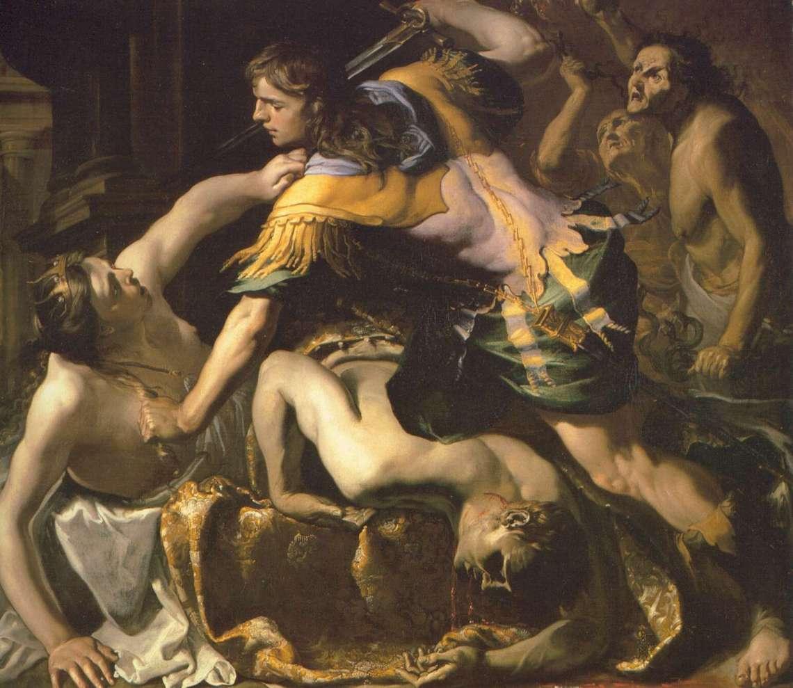 Orestes da muerte a y Egisto y Clitemnestra. Bernardino Mei, 1654