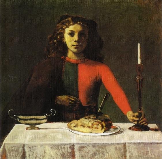 Balthus. Muchacha en verde y rojo —El candelabro—