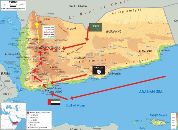 Map of Yemen - Courtesy of Moon of Alabama website www.moonofalabama.org-(unknowm origination)