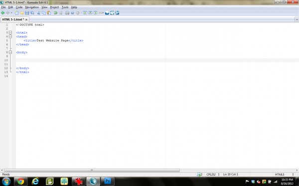 Resulting Blank HTML Page (click for full size)