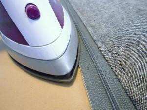 Glue basting zipper iron