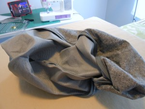 Turning zippered pouch right side out