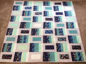 Blue gray modern quilt full shot wide