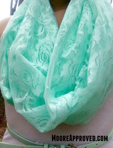 DIY Mint Green Lace Infinity Scarf on model close