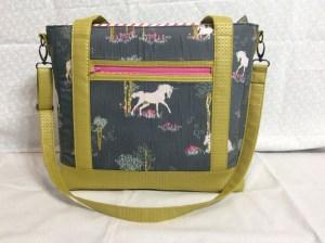 Sew Sweetness Tudor Bag Fantasia Art Gallery Fabrics unicorn purse standing wide 2