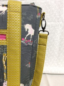 Sew Sweetness Tudor Bag Fantasia Art Gallery Fabrics unicorn purse side strap hardware 2