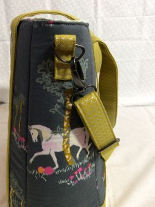 Sew Sweetness Tudor Bag Fantasia Art Gallery Fabrics unicorn purse side strap hardware 1
