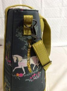 Sew Sweetness Tudor Bag Fantasia Art Gallery Fabrics unicorn purse side strap hardware 1