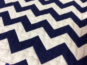 Navy White Red Chevron Baby Quilt Michael Miller's Wicker in Candy Paintbox Collection Cynthia Rowley white side close shot