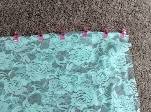 Mint Green Lace Infinity Scarf wonder clips holding halves in place