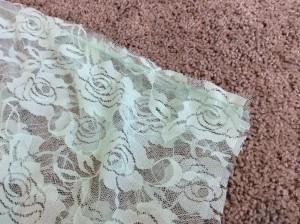 Mint Green Lace Infinity Scarf tube sewn three step zigzag stitch