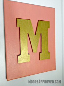 Moore Approved Canvas Art Acrylic Paint Target Hand Made Modern Coral Gold Monogram Canvas Art M