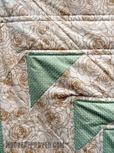 Moore Approved Priory Square Steeping Awakening Gold Roses Cotton and Steel Flying Geese Quilt Closeup Block