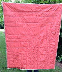 Moore Approved Priory Square Steeping Awakening Gold Roses Cotton and Steel Flying Geese Quilt Coral Target Threshold Sheet Back