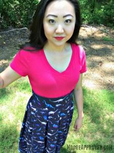Lizzy House Natural History Dinosaurs Blue Andover Fabric Pleated Skirt Handmade Medium Face