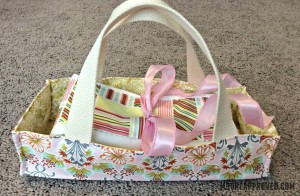 Moore Approved On The Go Fabric Basket Matching Burp Cloth Baby Gift Set