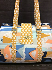 Moore Approved Bound Challenge Art Gallery Fabrics April Rhodes Swoon Patterns Nora Doctor Bag Gold Hardware Front Close Up