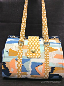 Moore Approved Bound Challenge Art Gallery Fabrics April Rhodes Swoon Patterns Nora Doctor Bag Gold Hardware Front View