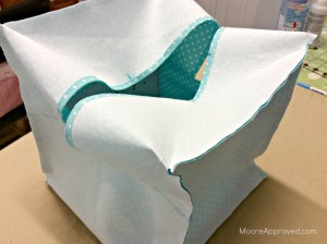 Quilted Cube Case Moore Approved Cut Lining Fabrics Cynthia Rowley Paintbox Aqua lining sewn together inside out