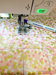 Quilted Cube Case Moore Approved Main Fabric Quilting Janome 7700 Marking Lines Brambleberry Ridge Gold Pink Dots Air Soluble Pen