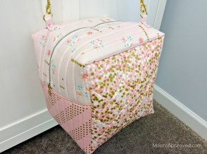 Quilted Cube Case Moore Approved Quilting Brambleberry Ridge Gold Pink Dots Cotton and Steel Basics Finished Bag Hanging