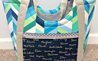 Moore Approved Noodlehead Poolside Tote Cotton and Steel Canvas Robert Kaufman Geopop Blue Green Silver Bag Front Full Straps Inside