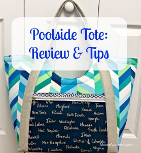 Moore Approved Noodlehead Poolside Tote Cotton and Steel Canvas Robert Kaufman Geopop Blue Green Silver Bag Front GFX