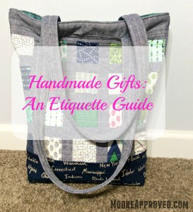 Moore Approved Tote Bag Quilted Exterior Color Me Happy Cotton and Steel Canvas Robert Kaufman Essex Linen Denim GFX Handmade Gifts Etiquette Guide
