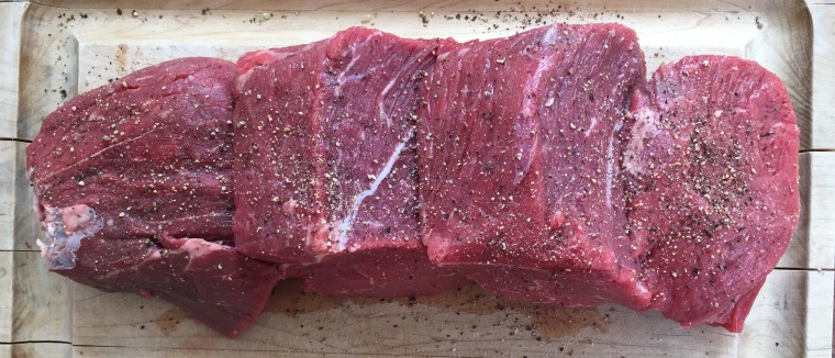 Raw beef with pepper and salt