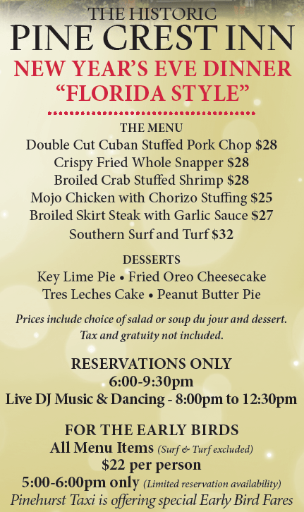 Pine Crest Inn New Years Eve Dinner Menu