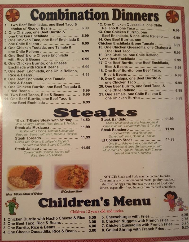 casa mexicana menu