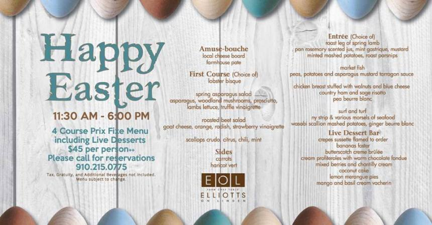 elliotts on linden easter menu