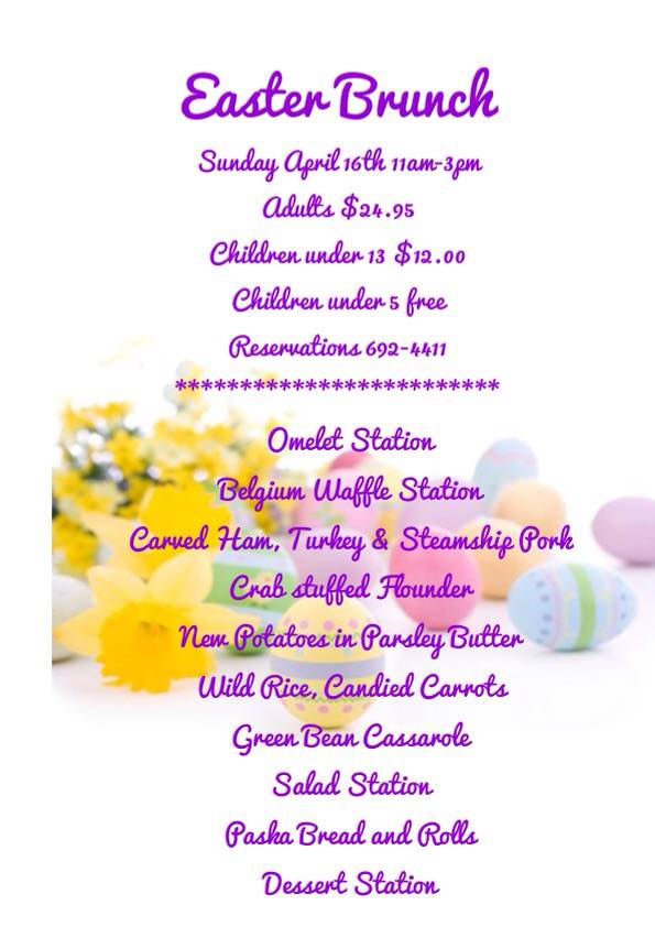 filly & colts easter menu