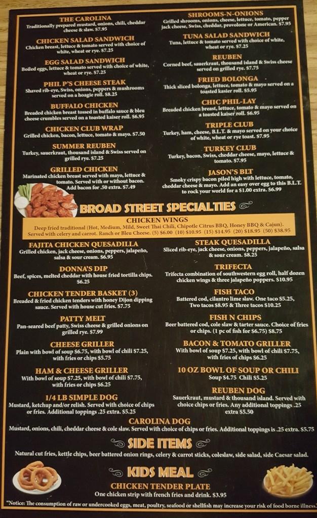 broad street grill menu