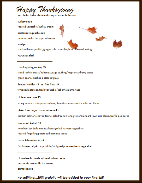 Ironwood Thanksgiving 2017 menu