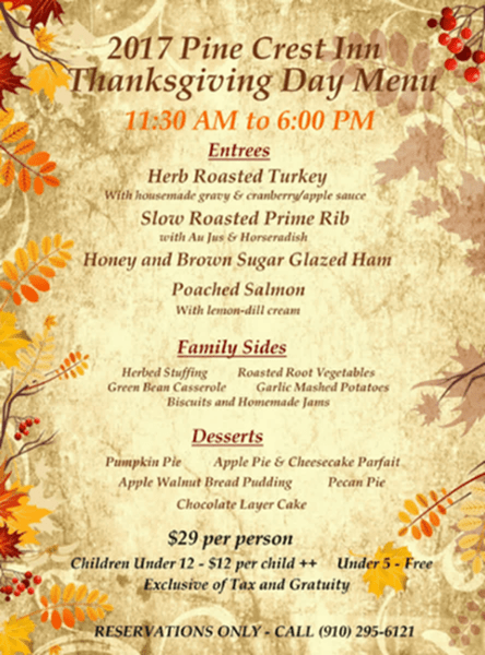 Pine Crest Inn Thanksgiving 2017 dine in